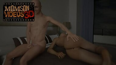 3D Mom & Son - Step-Son jerk off to naked sleeping Mom