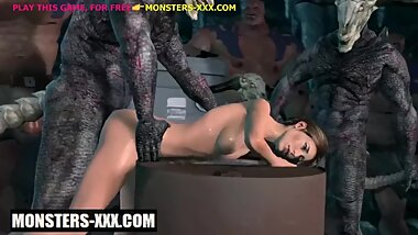 Lara croft in gangbang with monsters