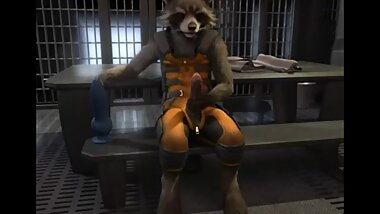 Rocket Raccoon pawjob and cum