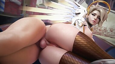 NSFW Overwatch, Mercy 3D Hentai Animation Good Quality, Long